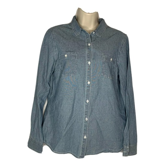 J. McLaughlin Women's Medium Jean Denim Button Up